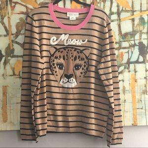 NWT Kate Spade BroomeStreet Leopard Stripe Sweater